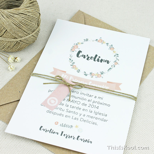 Invitación Comunión Corona Flores
